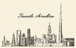 Skyline Saudi Arabia vector drawn sketch. Skyline of Saudi Arabia vintage vector engraved illustration hand drawn sketch Stock Images