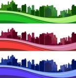 Skyline-Schattenbildsatz Chicagos Illinois verschiedener Stockbild