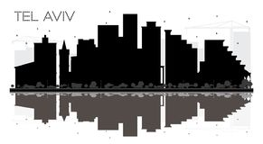 Skyline-Schwarzweiss-Schattenbild Telefons Aviv Israel City mit Hinweis stock abbildung