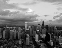 Skyline in Seattle. Black and white Seattle skyline Stock Images