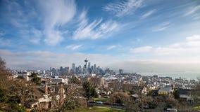 Skyline of Seattle in daylight Stock Image