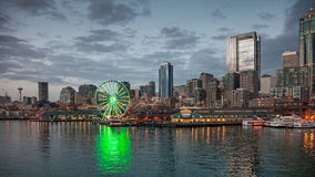 Skyline of Seattle in the evening Royalty Free Stock Photo