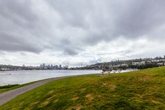 Skyline of Seattle Viewed from Gas Works Park royalty free stock photography