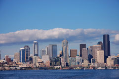 Skyline of Seattle, Washington. From Puget Sound Royalty Free Stock Photography