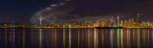 The skyline of Seattle, which is the most populous city in the Pacific Northwest as seen just after the fourth of July fireworks. Show at Lake Union stock photo