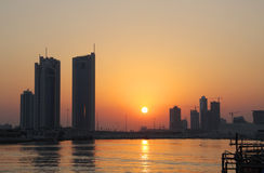 Skyline of seef area during sunset in Bahrain Royalty Free Stock Photography