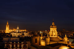 Skyline of Seville by night Stock Images