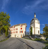 Skyline of Seyne les Alpes with chapel Stock Photo