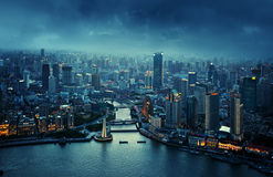 Skyline of Shanghai at sunset Stock Images