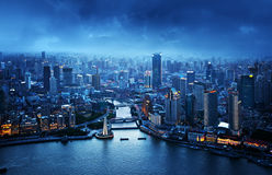 Skyline of Shanghai at sunset Royalty Free Stock Photography