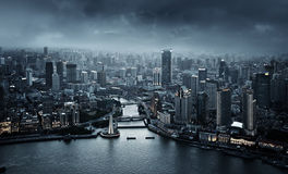 Skyline of Shanghai at sunset Stock Photography