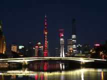 Skyline of Shanghai viewed from Suzhou Creek in Puxi Royalty Free Stock Images