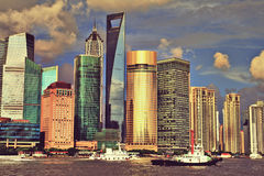 Skyline Shanghais Lujiazui Stockbild