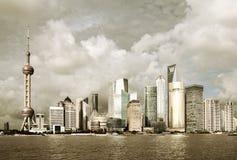 Skyline Shanghais Pudong Stockfotografie