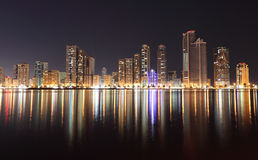 Skyline of Sharjah City at night. United Arab Emirates Royalty Free Stock Photo