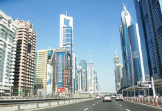 Skyline of Sheikh Zayed Road, City of Dubai Royalty Free Stock Photo