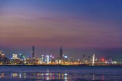 Skyline of Shenzhen City, China. Skyline of Shekou district, Shenzhen city, China at dusk. Viewed from Hong Kong Stock Images