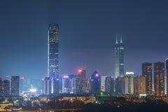 Skyline of Shenzhen City, China. At night. Viewed from Hong Kong border Stock Photography