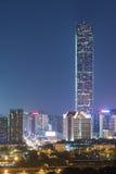 Skyline of Shenzhen City, China. Skyline of Shenzhen City, China at twilight. Viewed from Hong Kong border Stock Photo