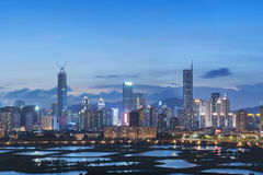 Skyline of Shenzhen City, China Royalty Free Stock Photo