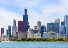 Skyline and Shoreline. Chicago, USA - May 24, 2014: Part of Chicago skyline including Willis Tower with Grant Park seen from Lake Michigan Royalty Free Stock Photos