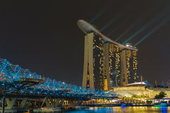 Skyline of Singapore at a beautiful night Royalty Free Stock Photography