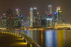 Skyline of Singapore at a beautiful night Royalty Free Stock Images