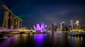 Skyline of Singapore at a beautiful at night, Cityscape Singapore Panoramic Stock Images
