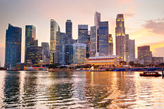 Singapore at sunset Stock Photos