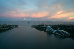 Skyline of Singapore at a beautiful sunset royalty free stock photography