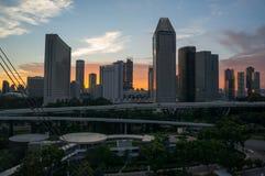 Skyline of Singapore at a beautiful sunset stock photo