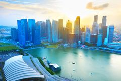 Skyline of Singapore business Downtown Stock Image