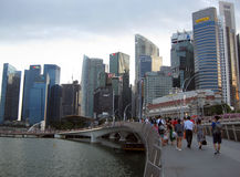 Skyline of the Singapore Central Business District. Singapore - August 2016  A view of the Singapore Central Business District with its tall office buildings Royalty Free Stock Photography