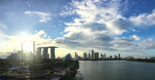 Skyline in Singapore at sunset Royalty Free Stock Photos