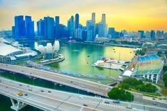 Skyline of Singapore at sunset Stock Photography