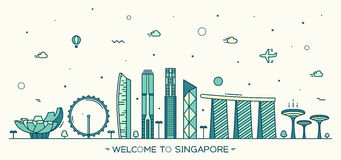 Skyline Singapore vector illustration linear style Stock Images