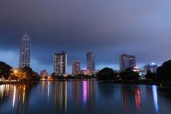 The skyline of Colombo at night Royalty Free Stock Image