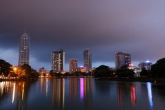 The skyline of Colombo at night Stock Image
