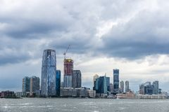 Skyline of skyscrapers in Jersey City, New York City, USA. View of the skyline of modern skyscrapers of Jersey City and Colgate Center in New York City, USA stock photography