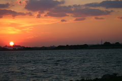 Skyline-Sonnenuntergang Stockfotografie