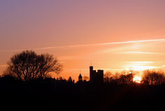 Skyline am Sonnenuntergang Stockfoto