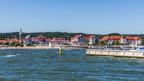 Skyline of Sopot. A major health-spa and tourist resort on the Polish Baltic Sea coast with two luxury hotels, old style Sofitel Grand and modern Sheraton Royalty Free Stock Images