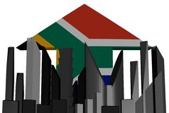 Skyline and South Africa flag arrow Stock Photo