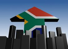 Skyline and South African flag arrow Stock Images