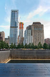 Skyline from South Pool at 911 Memorial and Museum Royalty Free Stock Photo