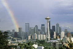 This is the skyline with the Space Needle and a rainbow. It is the view from Queen Ann Hill. Stock Images