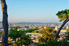 Skyline in Spanish Village on the Montjuic in Barcelona. Skyline of City Center in Spanish Village on the Montjuic in Barcelona, Spain. It is an architectural royalty free stock image