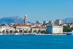 Skyline of Split downtown from the open sea. Skyline of city Split downtown in Croatia from the open sea Royalty Free Stock Images