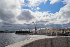 The skyline of St. Petersburg. View of the Arrow of Vasilevsky island. The historic center of St. Petersburg on the Neva river royalty free stock images