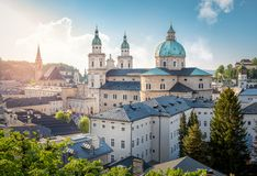 Skyline of Stadt Salzburg with Cathedral in summer at sunset, Salzburg Royalty Free Stock Photo